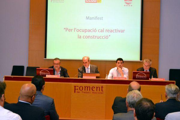 CCOO, UGT y Foment promueven el Manifiesto Por la ocupación, hay que recuperar la construcción