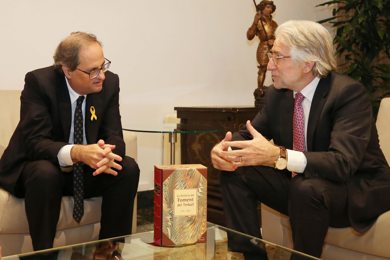 El President, Josep Sánchez Llibre, es reuneix amb el President de la Generalitat, Joaquim Torra