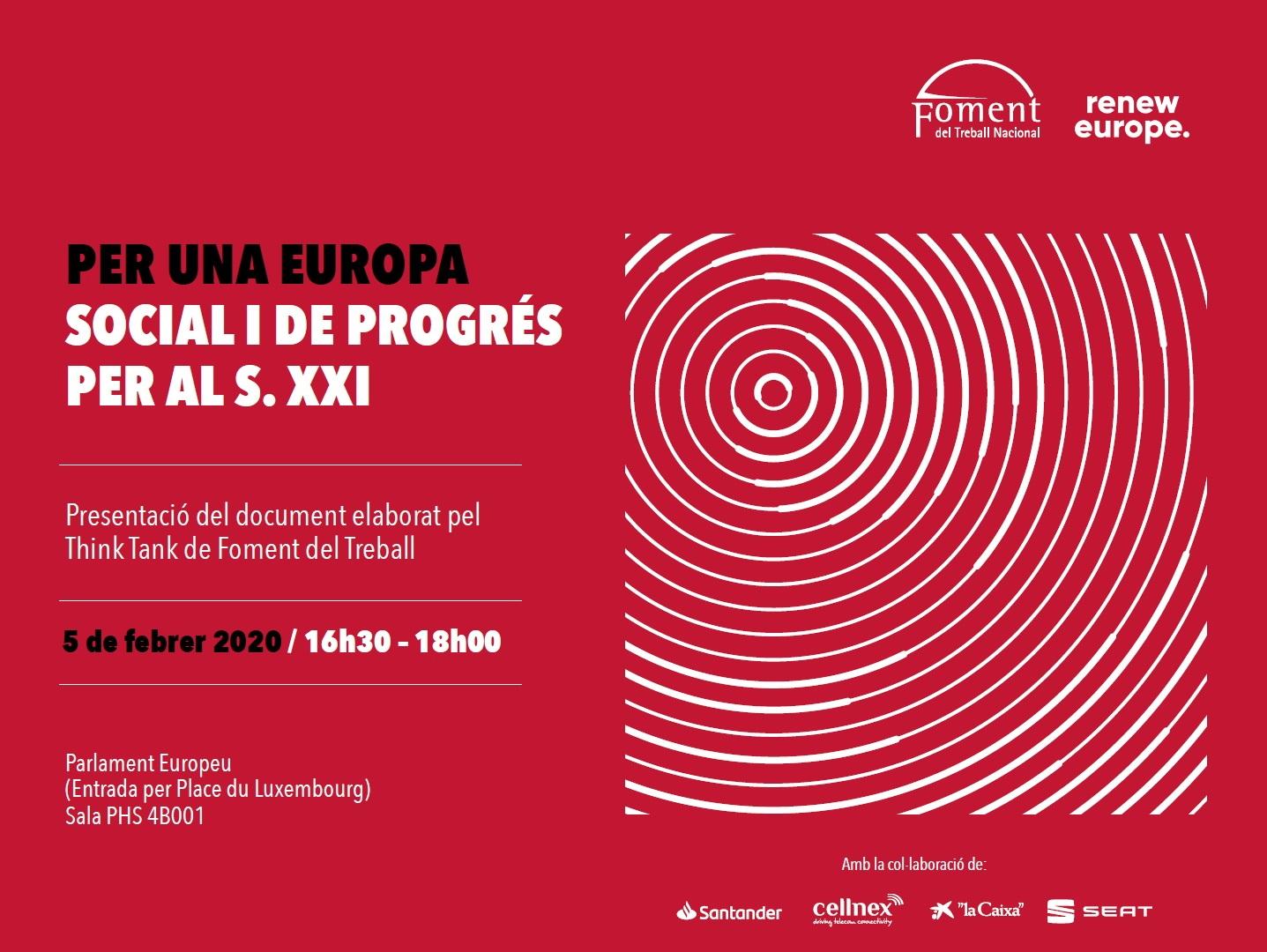 """Foment presentarà l'informe """"Per una Europa social i de progrés per al S. XXI"""" en el Parlament Europeu de Brussel·les"""