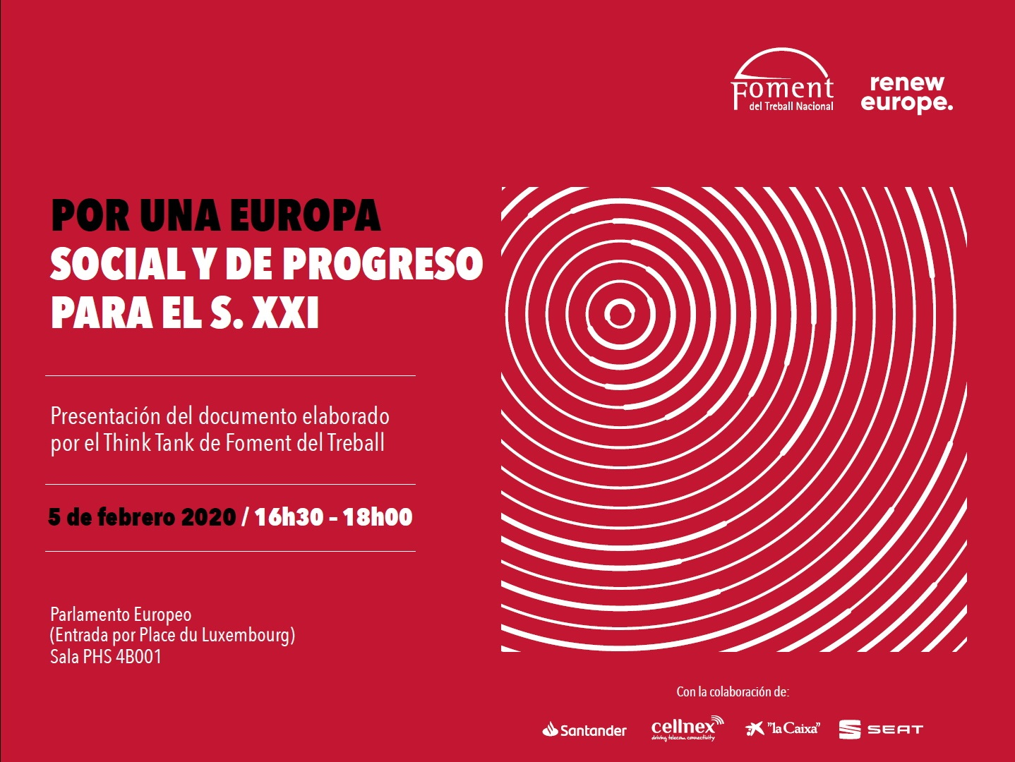 """Foment presentará el informe """"Por una Europa social y de progreso para el S. XXI"""" en el Parlamento Europeo de Bruselas"""